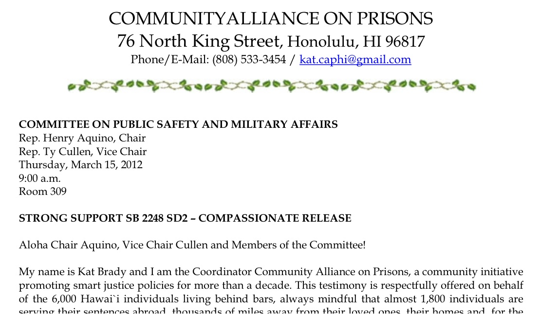 How To Testify Community Alliance On Prisons