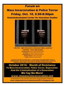 October 10 forum on Mass Inarceration