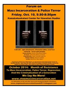 October 10 forum on Mass Inarceration