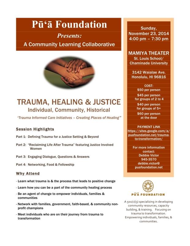 Trauma, Healing & Justice Flyer